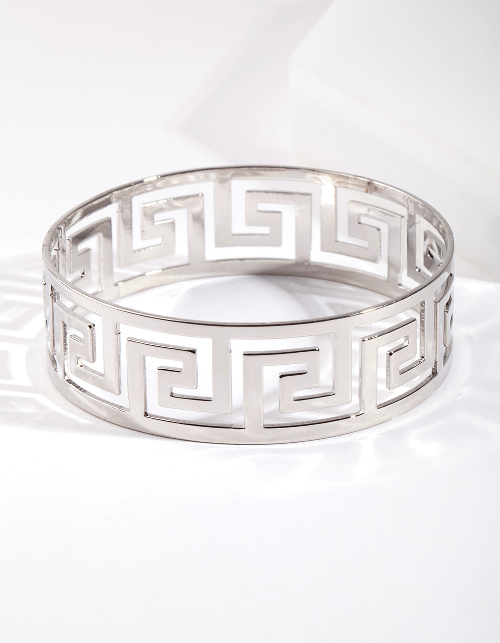 Rhodium Wide Cut-Out Bracelet