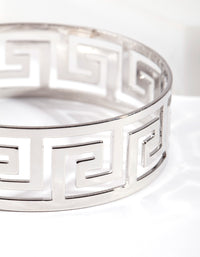 Rhodium Wide Cut-Out Bracelet - link has visual effect only