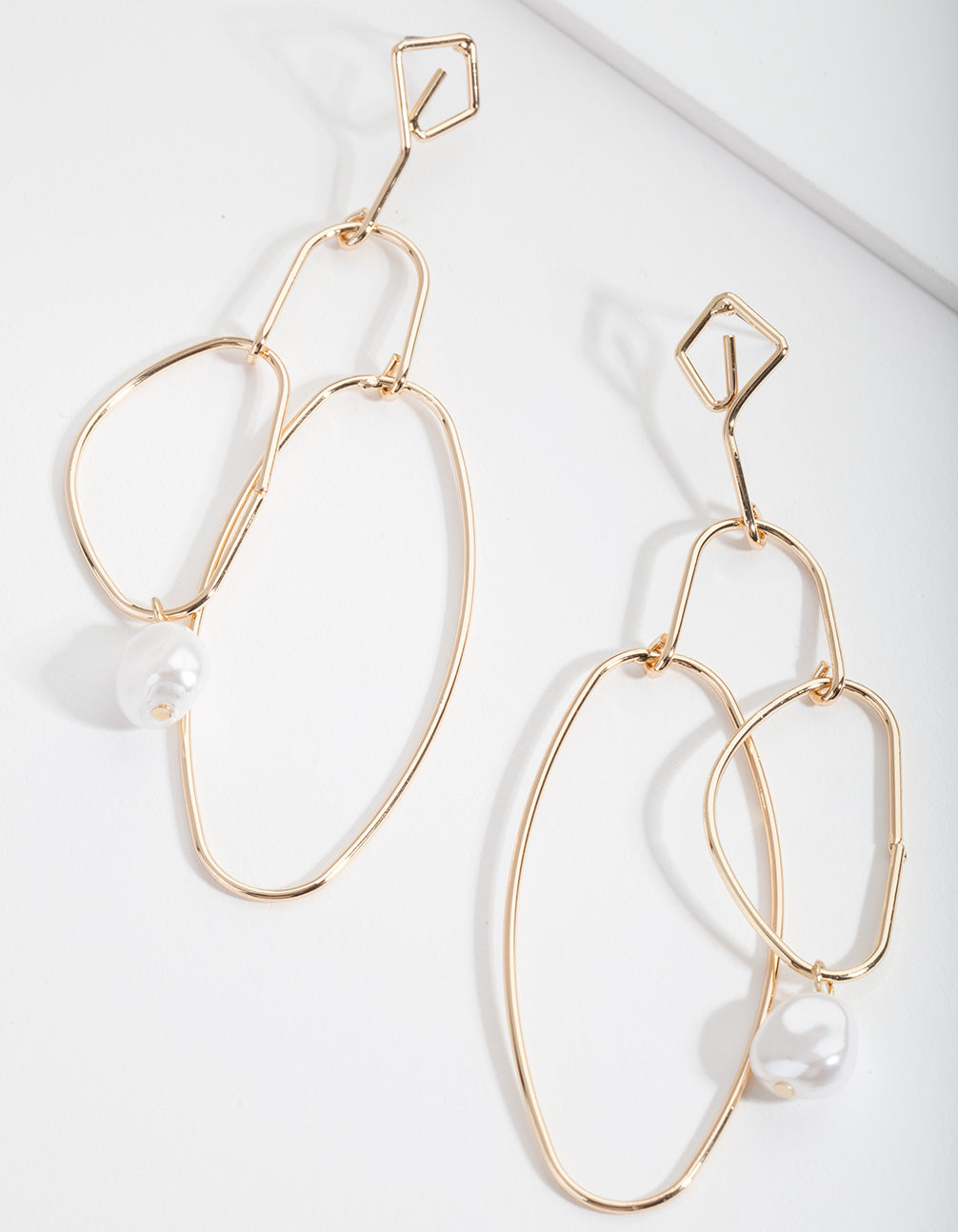 Gold Organic Shape and Pearl Drop Earrings