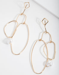Gold Organic Shape and Pearl Drop Earrings - link has visual effect only