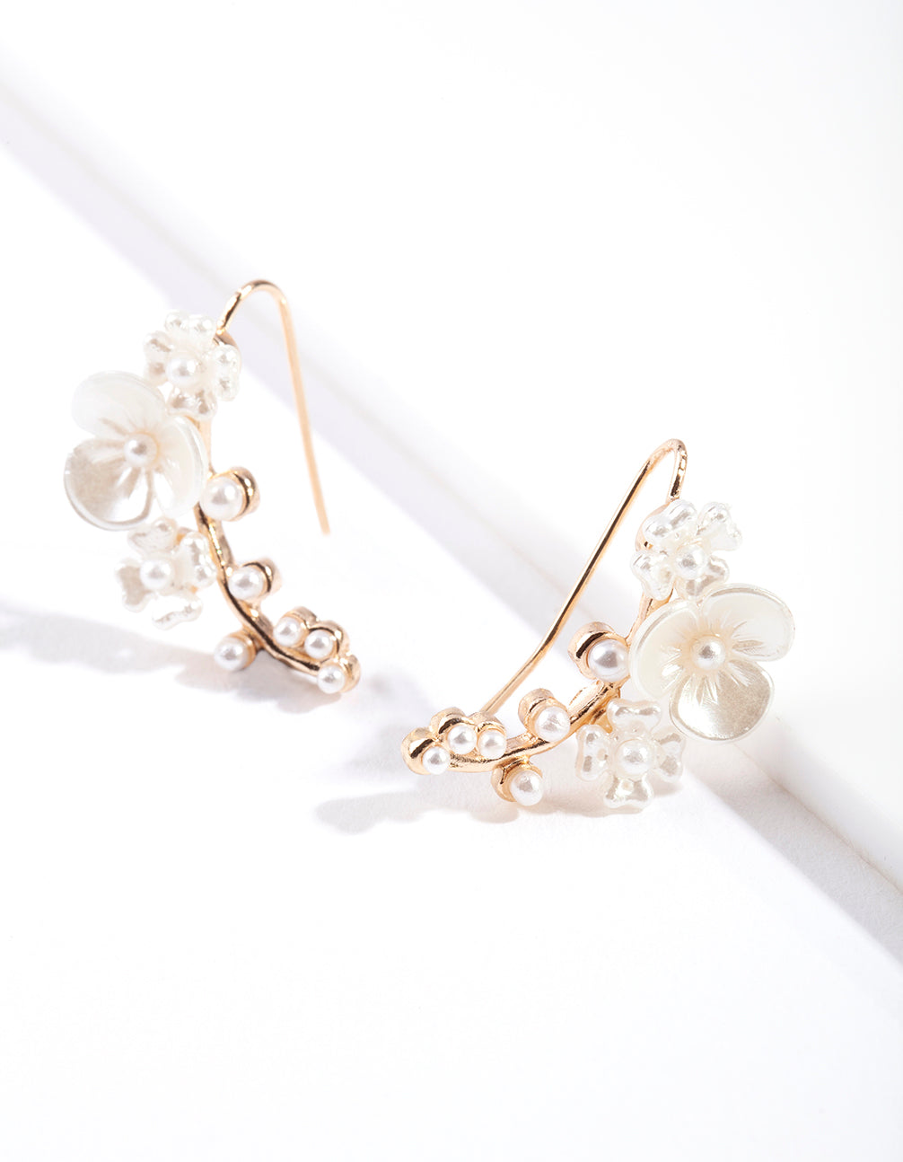 Gold Flower Crawler Earring