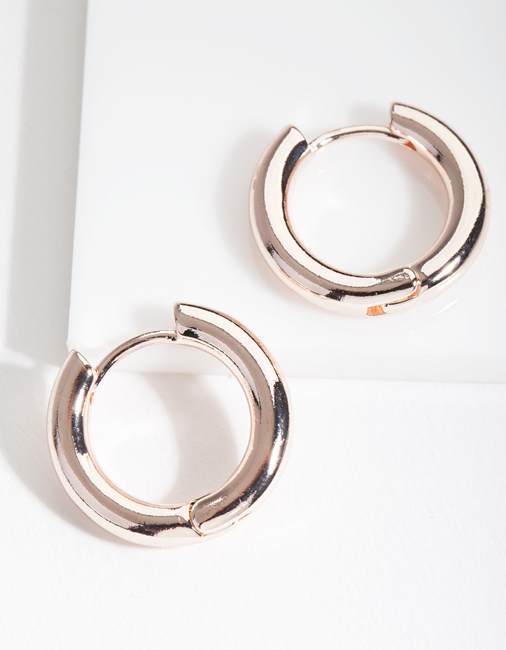 Rose Gold Simple Polished Hoop Earring