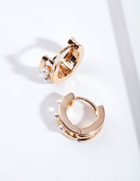 Gold Triple Pearl Huggie Earring - link has visual effect only