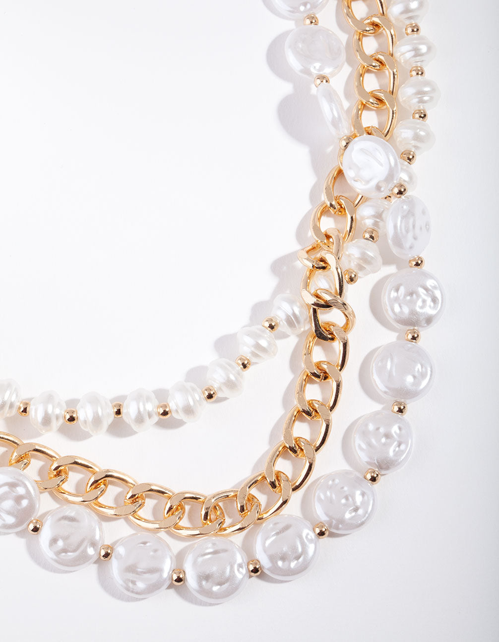 Gold Layered Pearl and Chain Necklace