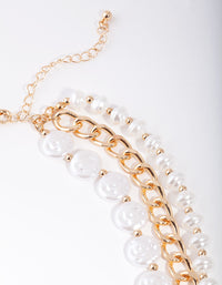 Gold Layered Pearl and Chain Necklace - link has visual effect only