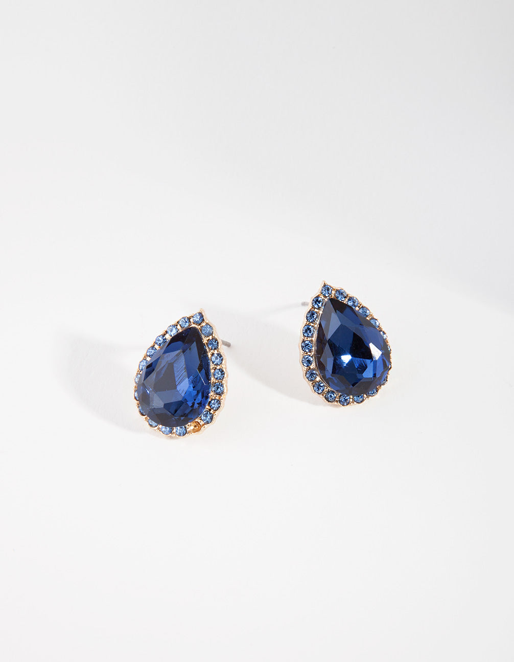 Gunmetal Blue Teardrop Halo Stud Earring