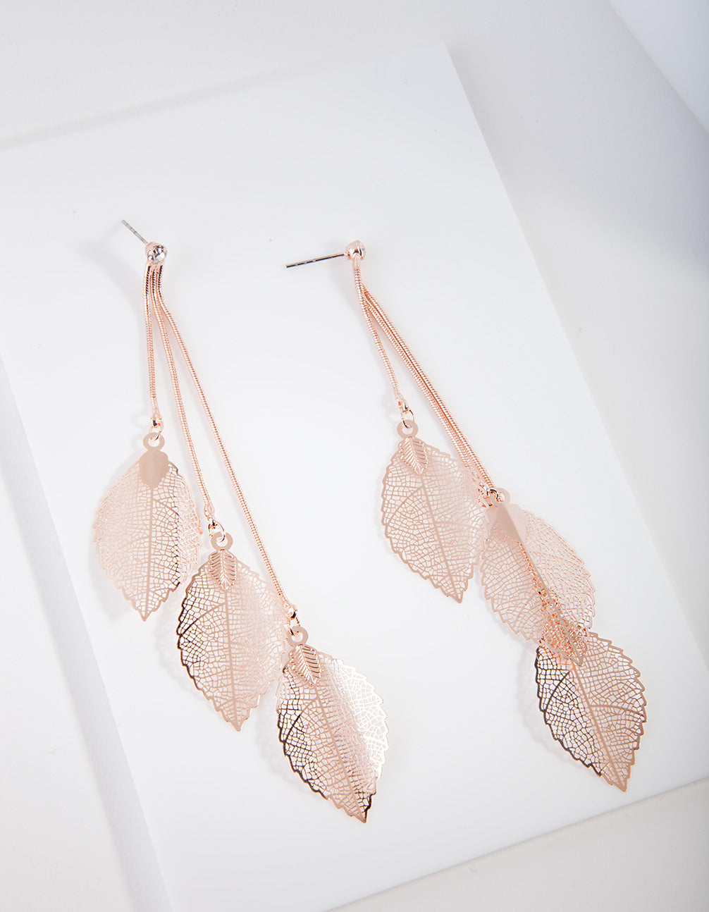 Rose Gold Waterfall Leaf Drop Earring
