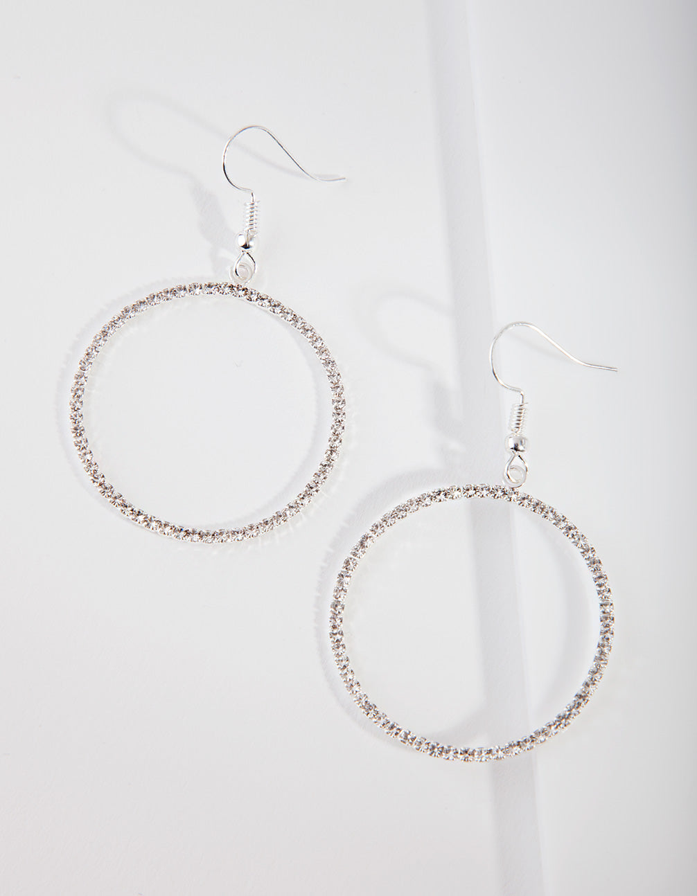 Silver Diamante Circle Drop Earring