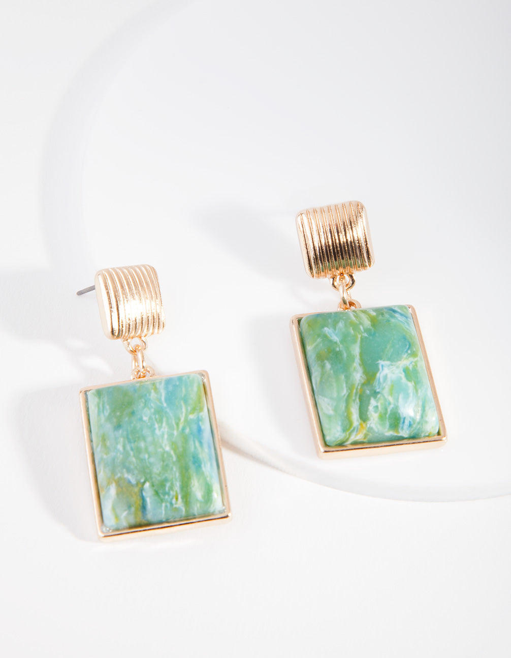Gold Square Multi Coloured Drop Earring