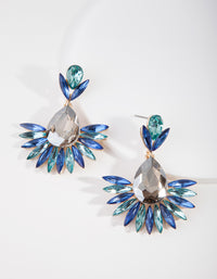 Gunmetal Blue Spike Diamante Drop Earring - link has visual effect only