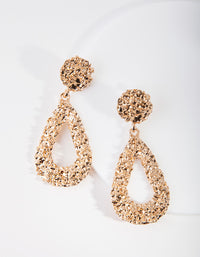 Gold Textured Teardrop Earring - link has visual effect only
