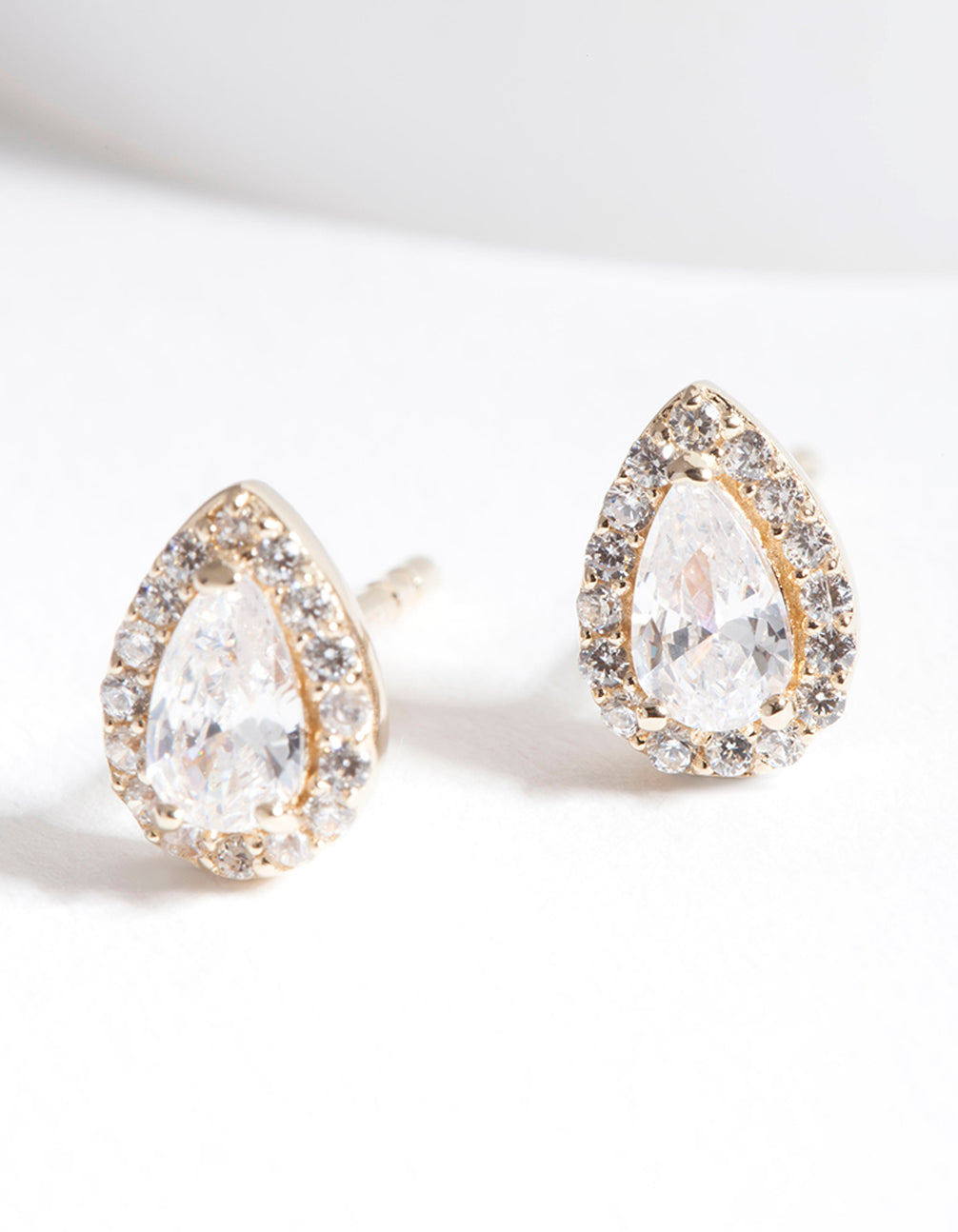 Gold Plated Sterling Silver Cubic Zirconia Pear Halo Stud Earrings