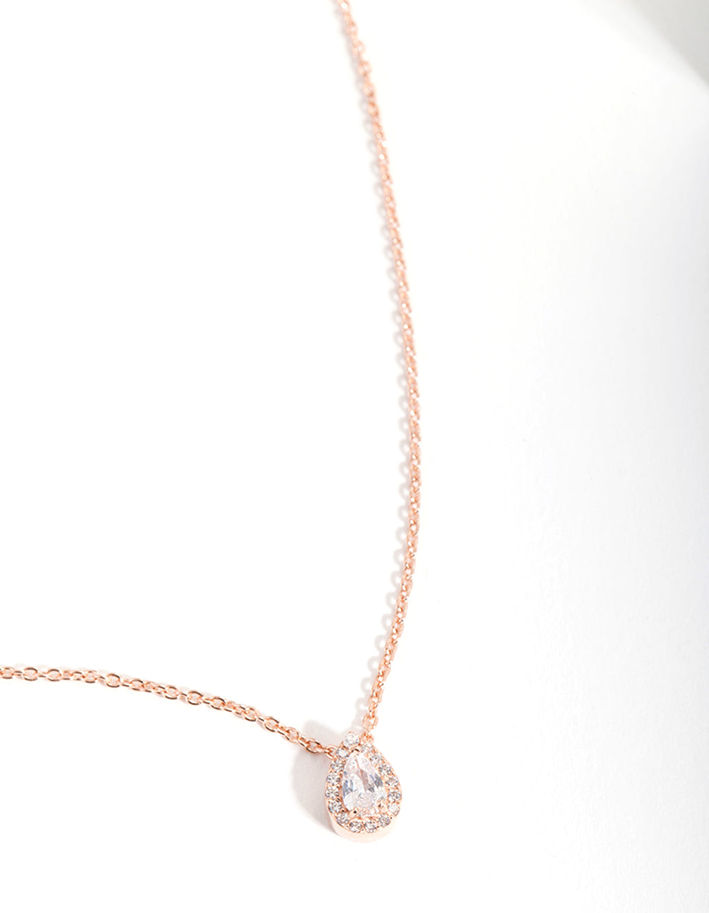 Rose Gold Plated Cubic Zirconia Pear Halo Necklace