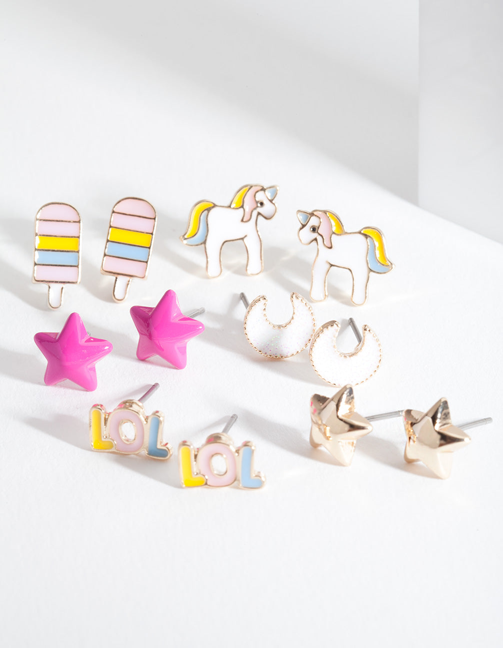 Kids Unicorn Mix Stud Earring 6 Pack