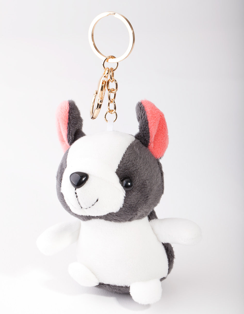 Kids Black White Dog Keyring