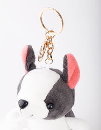 Kids Black White Dog Keyring - link has visual effect only