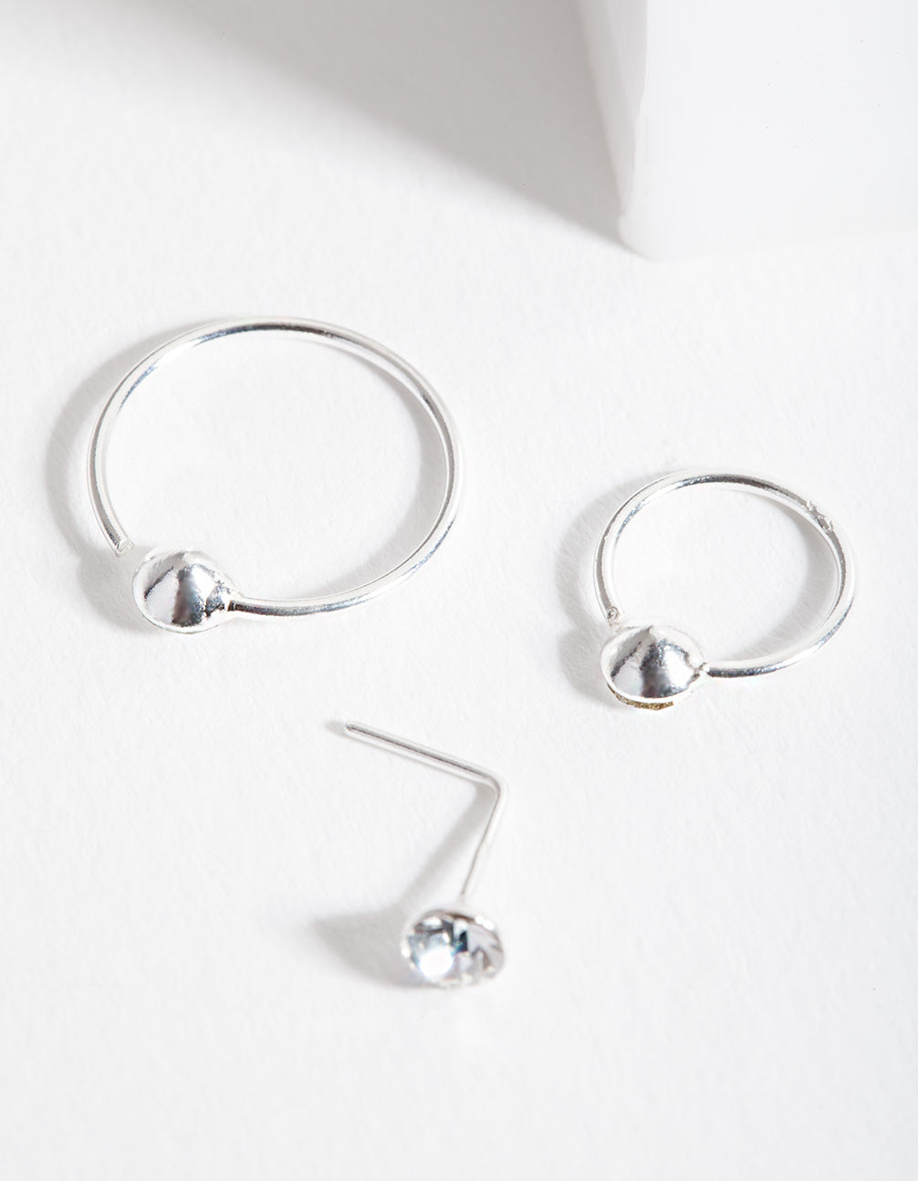 Sterling Silver Gem Nose Ring 3 Pack