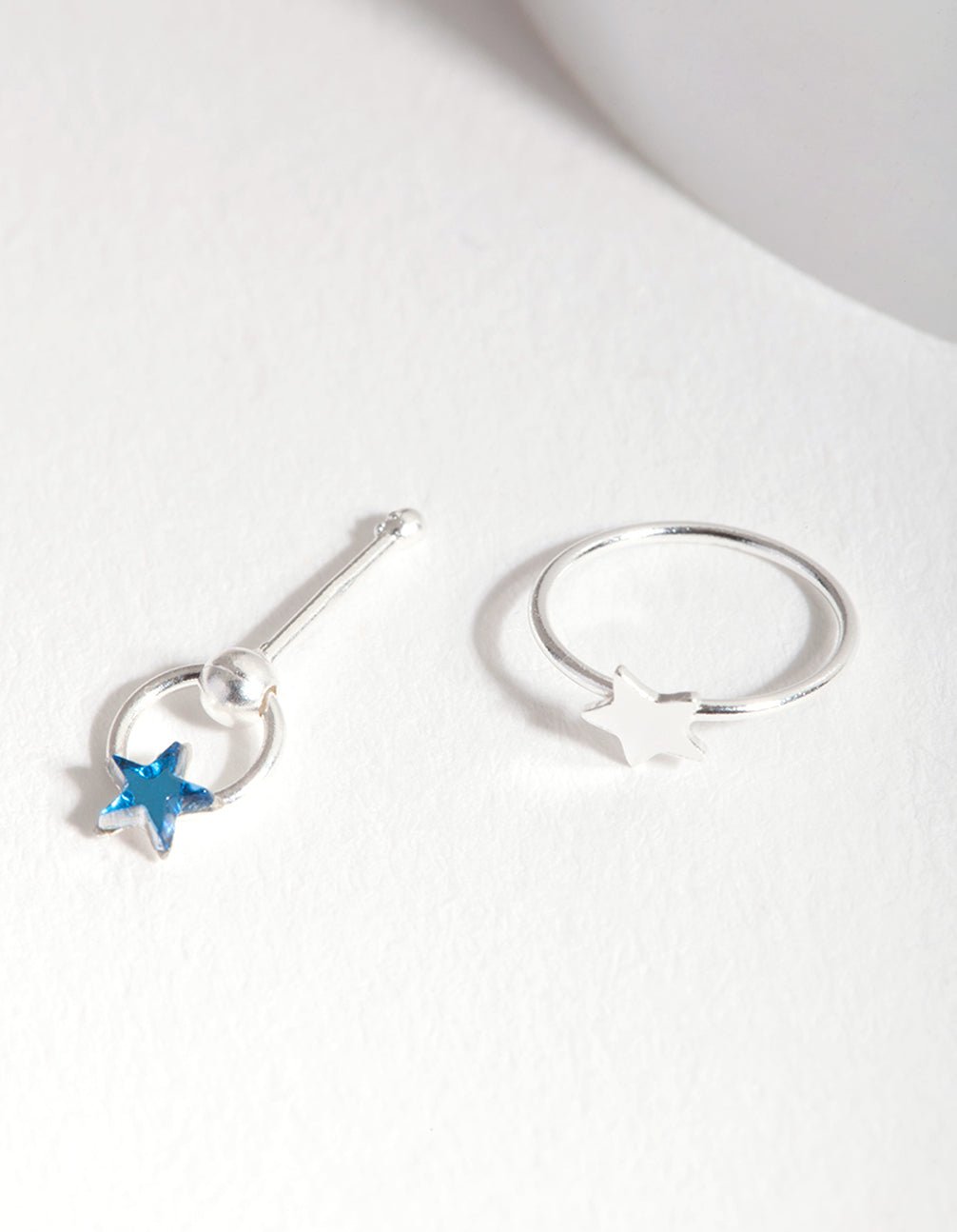 Sterling Silver Blue Star Nose Ring