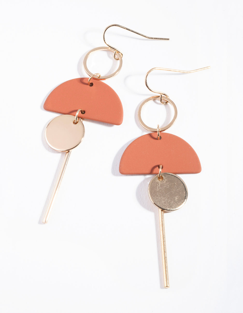 Brown Red Gold Geometric Earrings