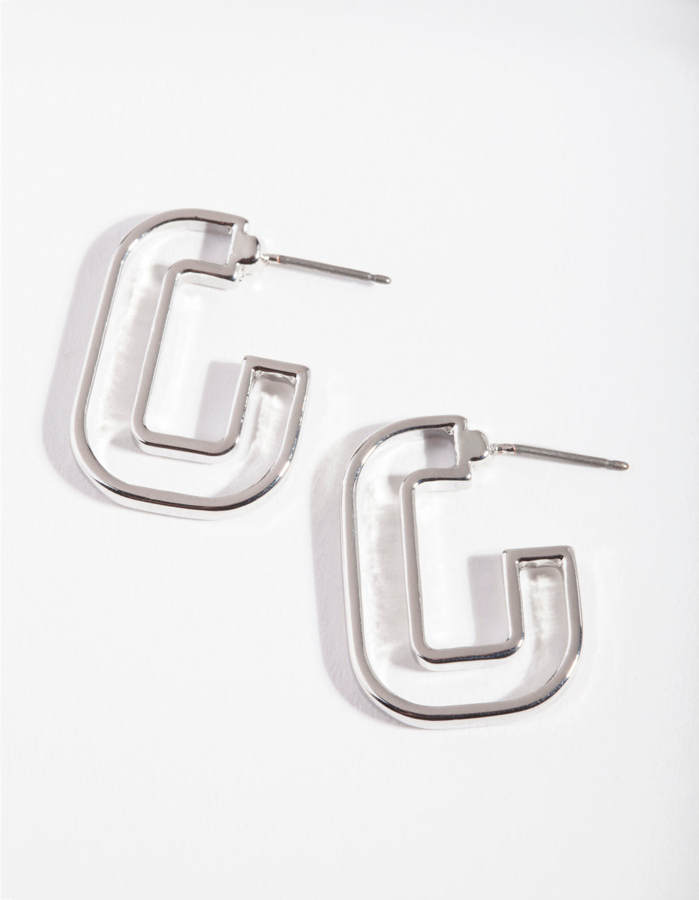 Rhodium C Shaped Hoop Earring