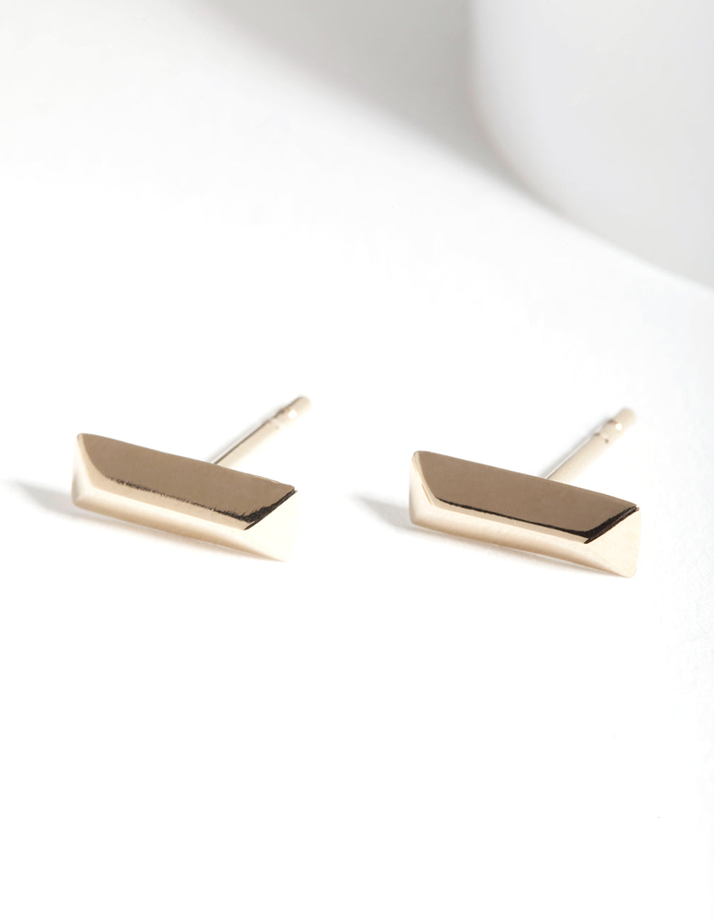 Gold Plated Sterling Silver Facet Bar Earring