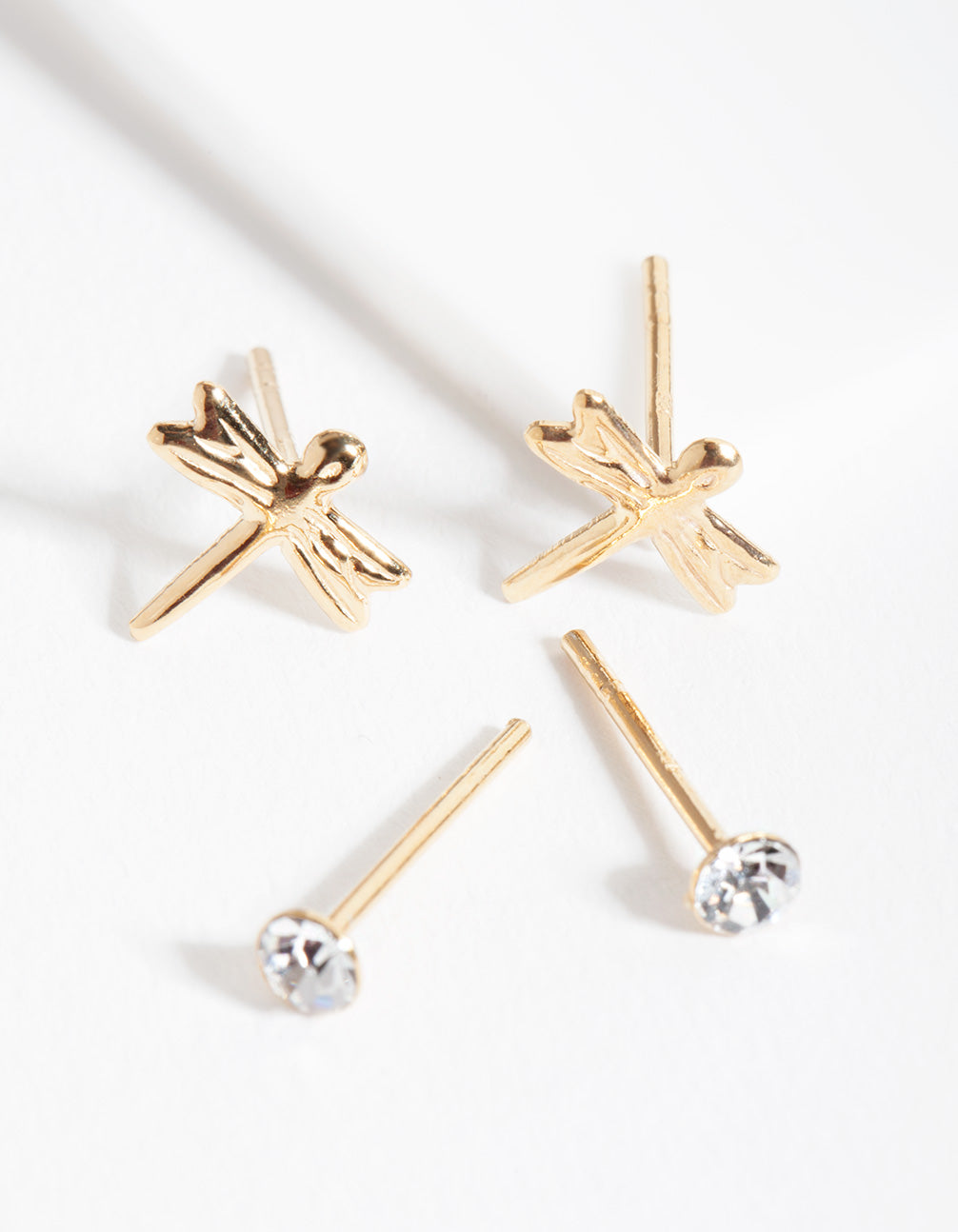 Gold Plated Sterling Silver Dragonfly Diamante Earring Pack