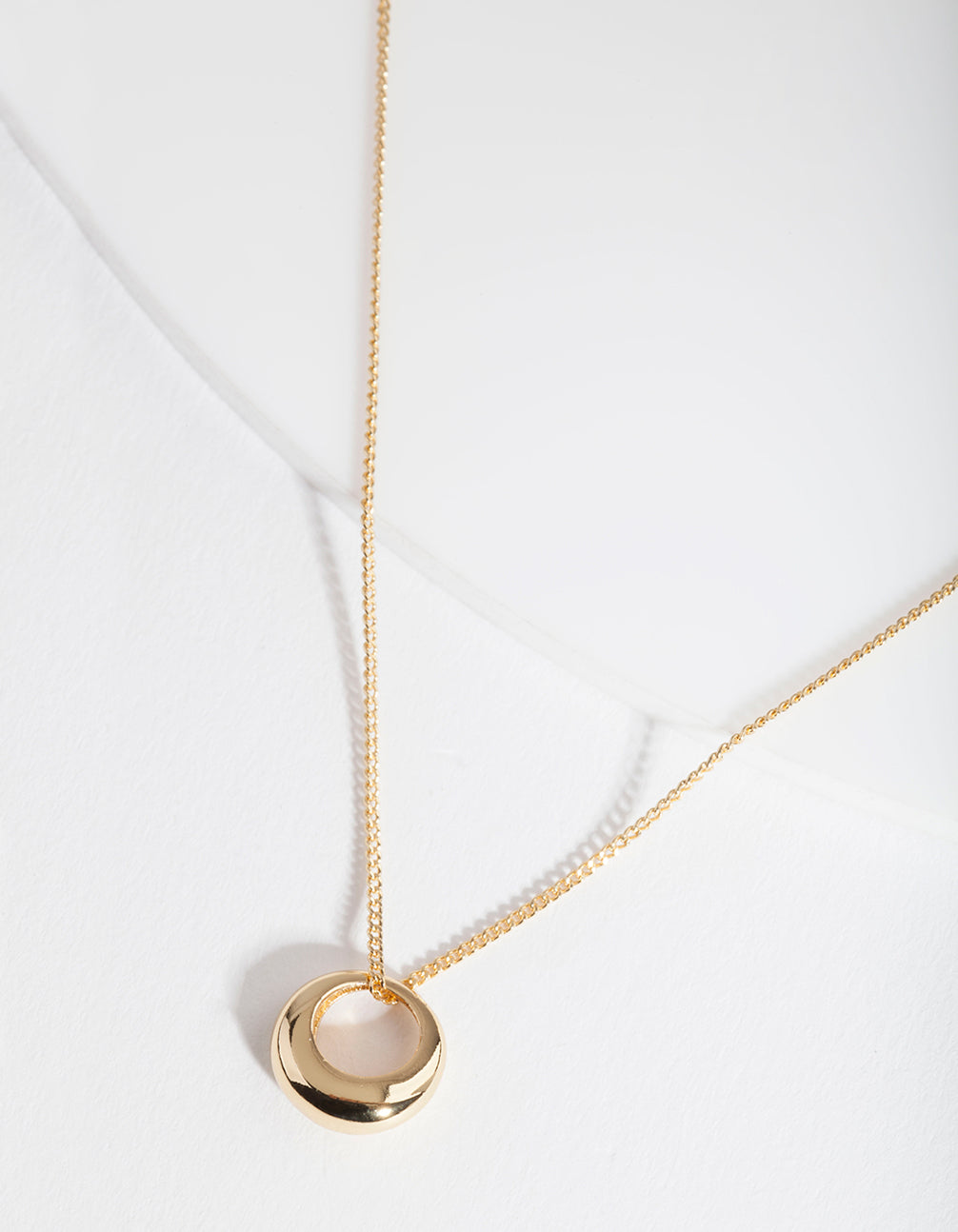 Gold Plated Sterling Silver Organic Open Circle Necklace