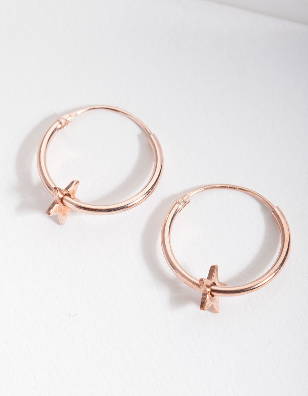 Rose Gold Plated Sterling Silver Star Hoop Earring