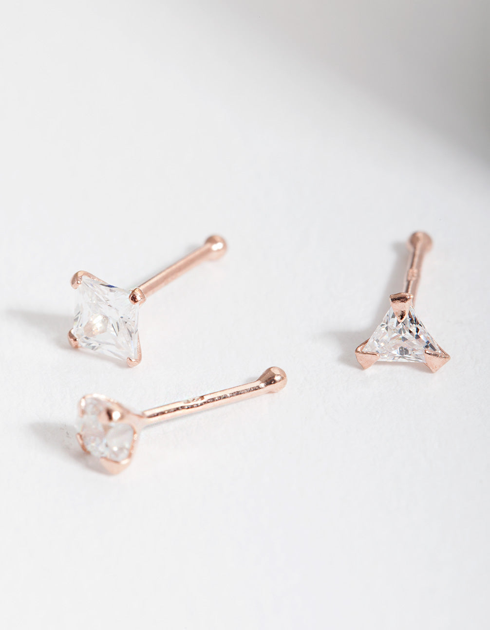 Rose Gold Plated Sterling Silver Cubic Zirconia Nose Stud 3 Pack
