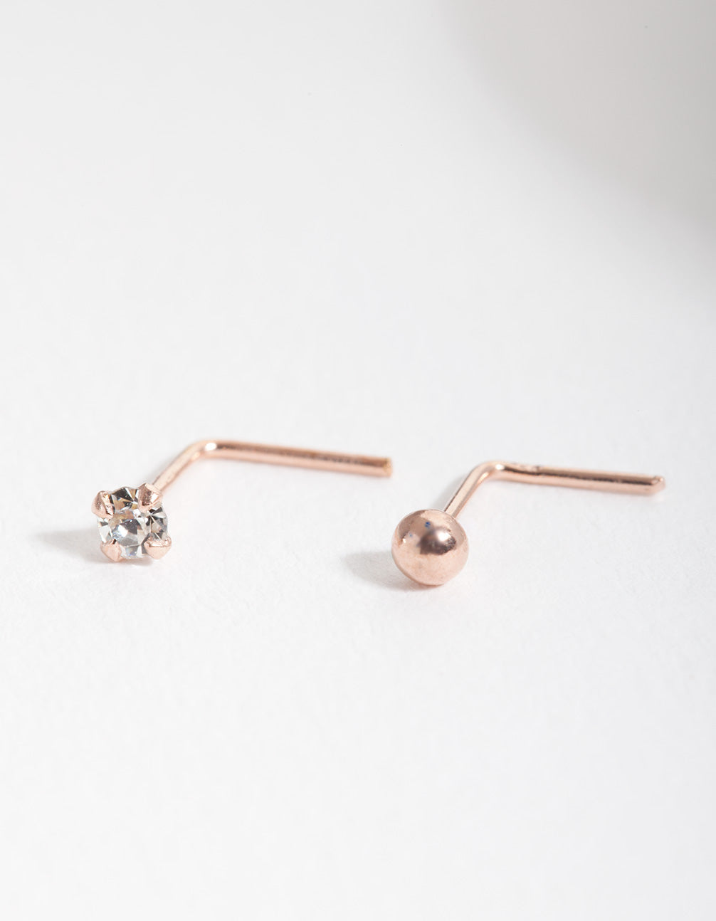 Rose Gold Plated Sterling Silver Diamante Nose Stud 2 Pack