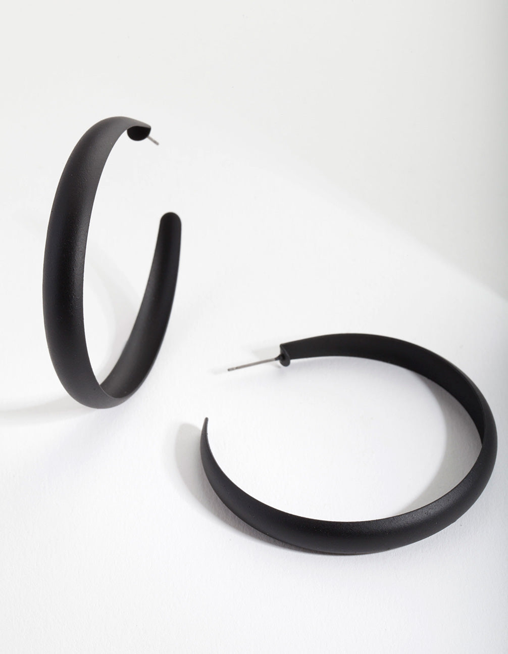 Black Coated Metal Hoop Earrings