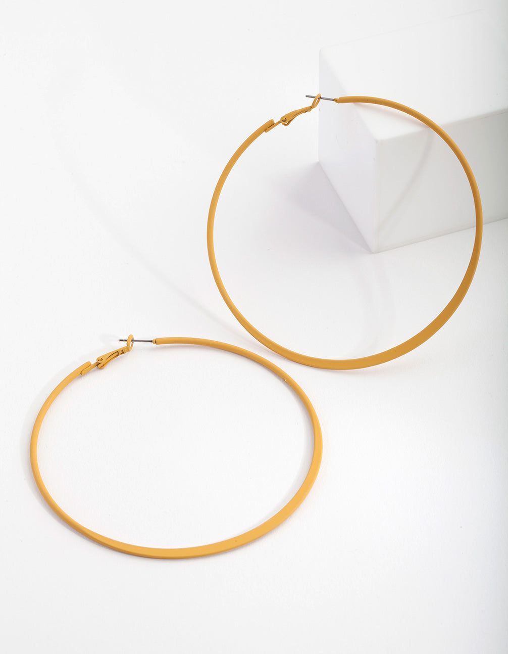 Mustard Flat Edge Hoop Earrings