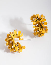Yellow Mini Cluster Flower Hoop Earrings - link has visual effect only
