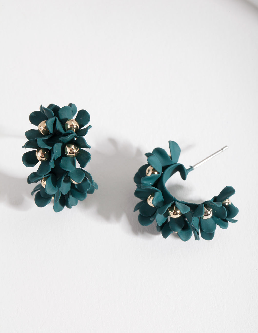 Green Mini Cluster Flower Hoop Earrings