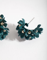 Green Mini Cluster Flower Hoop Earrings - link has visual effect only