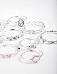 Silver Dainty Floral Ring 10 Pack - link has visual effect only
