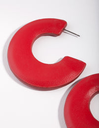 Red Acrylic C Shape Hoop Earrings - link has visual effect only