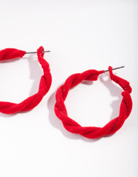 Red Fabric Twisted Hoop Earrings - link has visual effect only