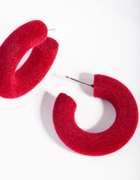Red Flocked Hoop Earrings - link has visual effect only