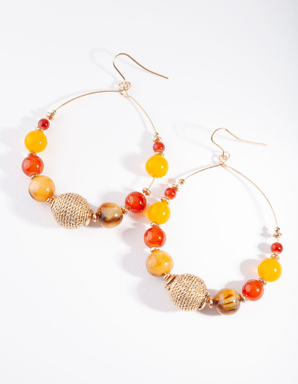 Gold Neutral Brown Orange Beaded Earring