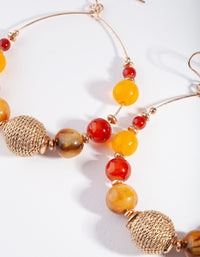 Gold Neutral Brown Orange Beaded Earring - link has visual effect only