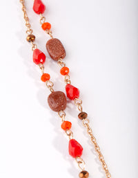 Red Multi Row Bead Necklace - link has visual effect only