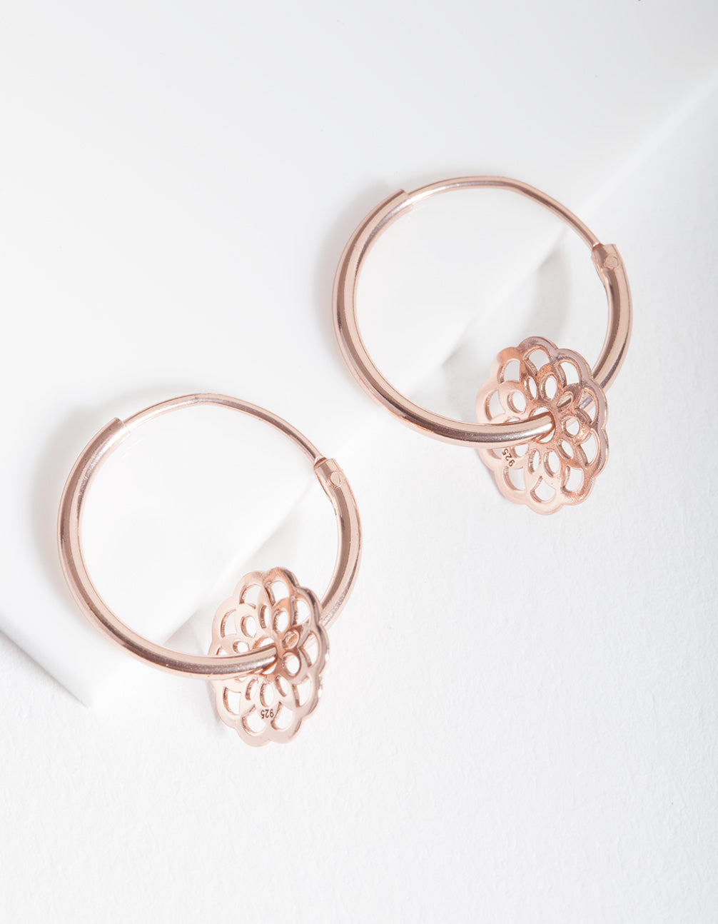 Rose Gold Plated Sterling Silver Filigree Flower Charm Hoop Earrings