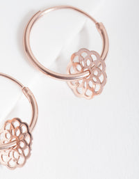 Rose Gold Plated Sterling Silver Filigree Flower Charm Hoop Earrings - link has visual effect only