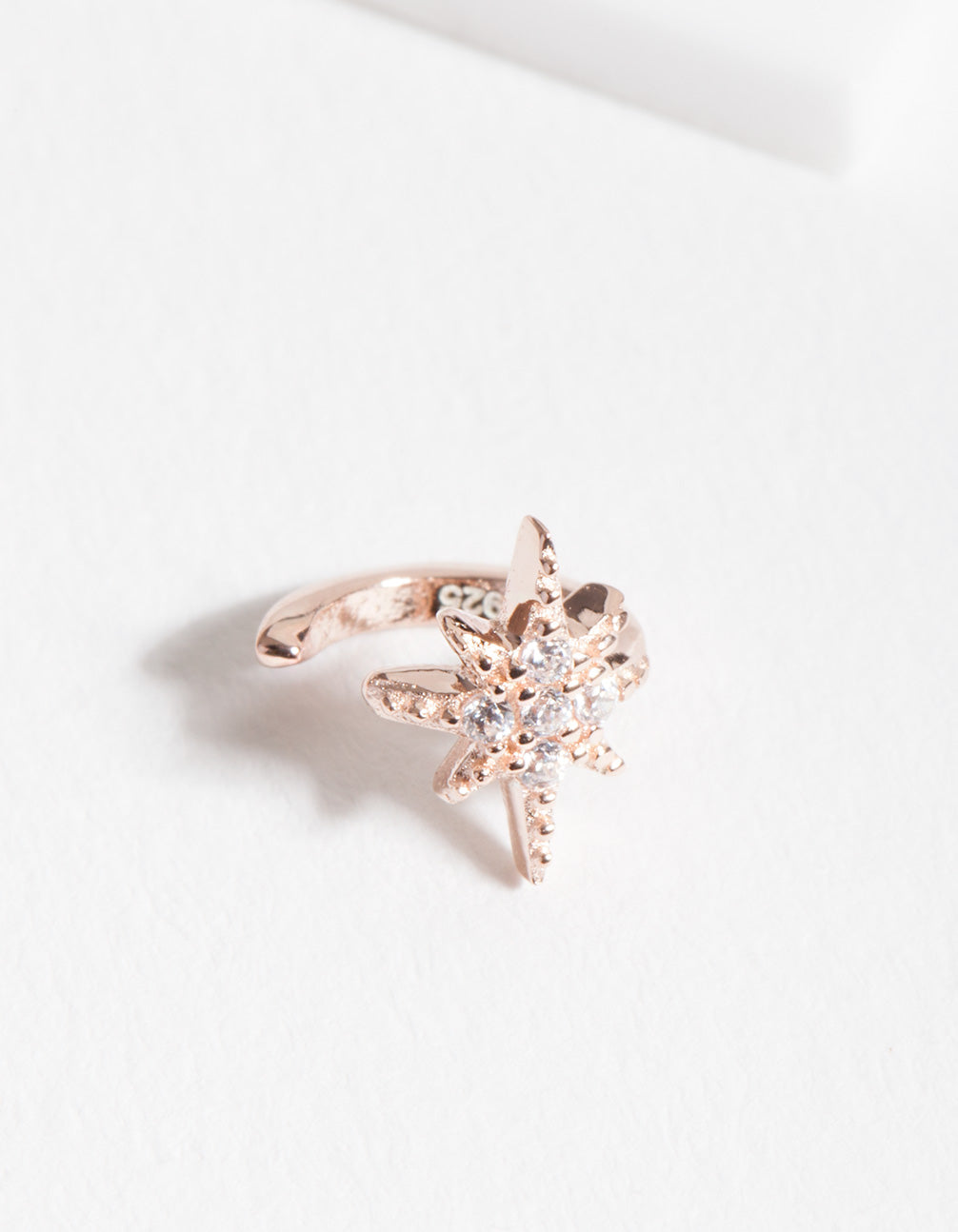 Rose Gold Plated Sterling Silver Starburst Ear Cuff