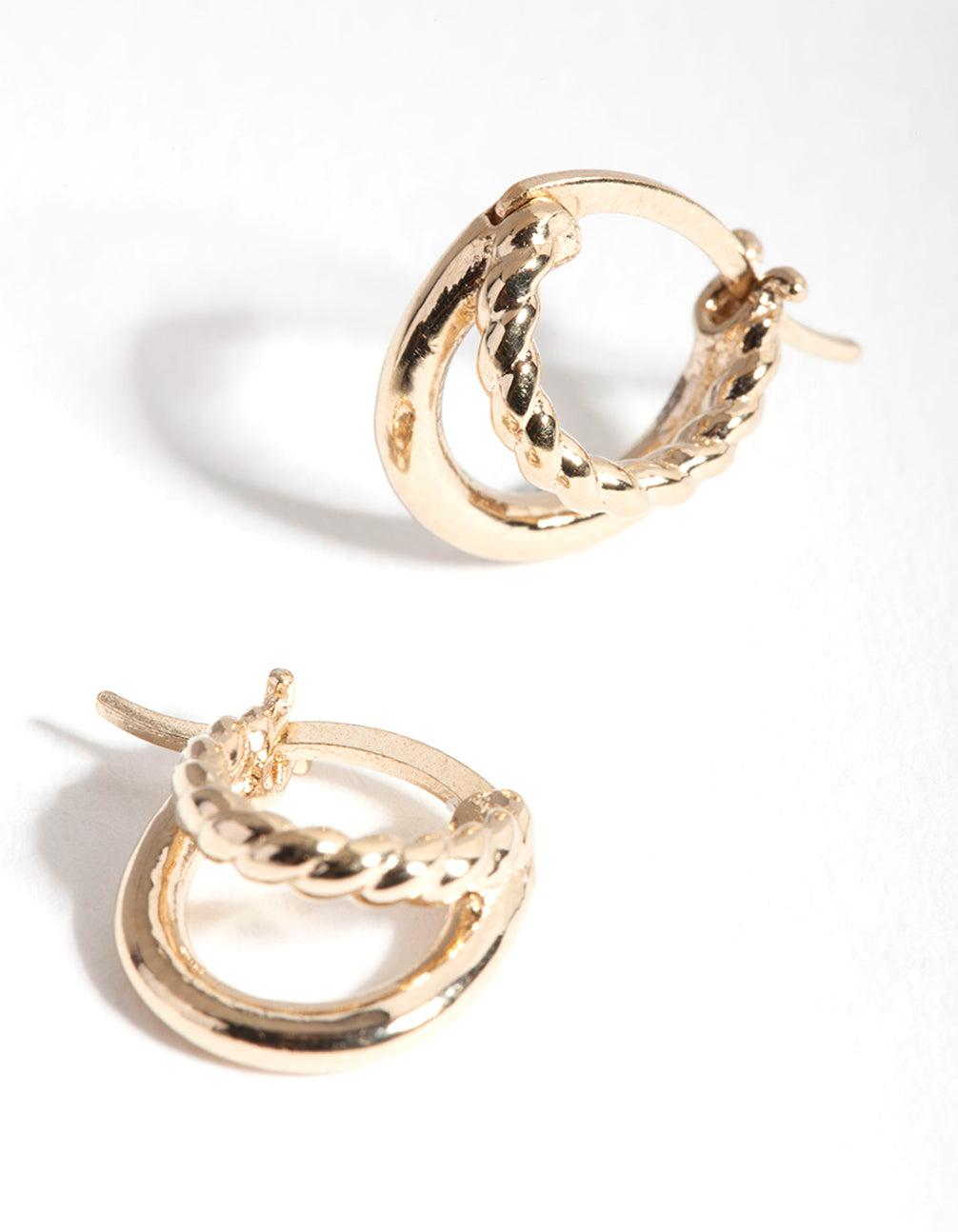 Gold Plated Sterling Silver Twisted Double Hoop Earring