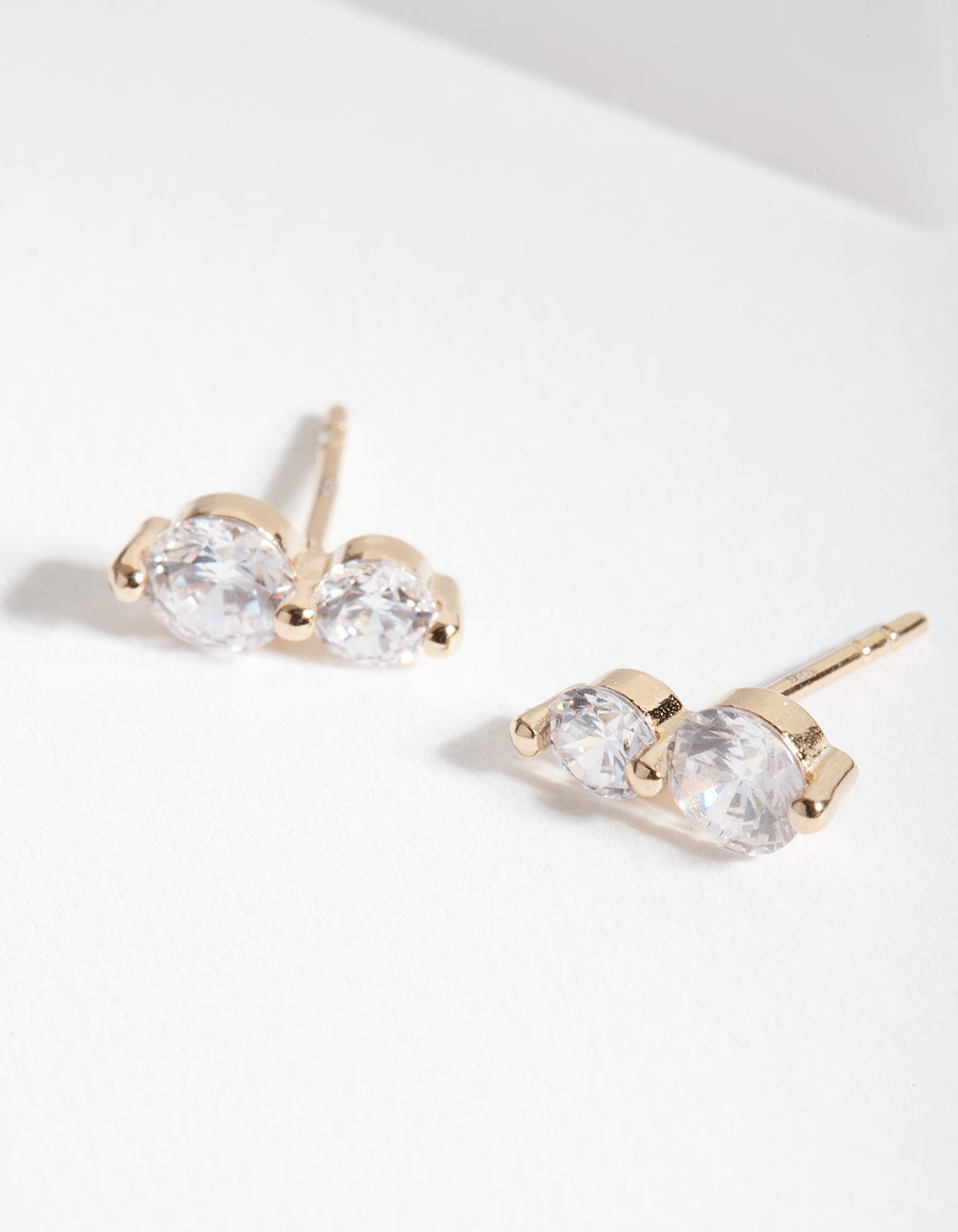 Gold Plated Sterling Silver Double Crystal Stud Earrings