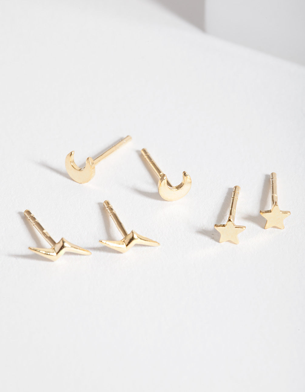 Gold Plated Sterling Silver Celestial Stud Earring Trio