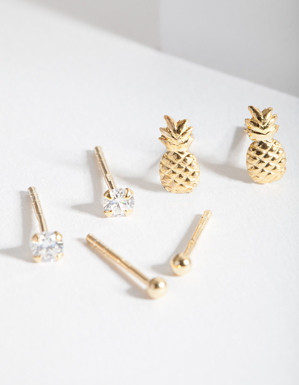 Gold Plated Sterling Silver Pineapple Earring Stud Pack