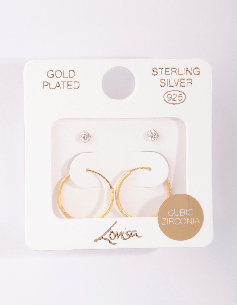 Gold Plated Sterling Silver Stud Hoop Earring Pack